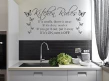 Kitchen Rules with Butterflies, Modern Wall Art Quote, Vinyl Sticker Decal